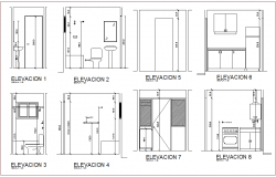 Bathroom and kitchen different side elevation view for apartment with architectural view dwg file