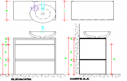 Bathroom details with table granite center details dwg file