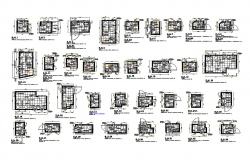 Bathroom developments section, plan and installation details dwg file