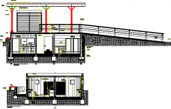 Bathroom front and back elevation view dwg file