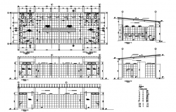Bathroom in stallations--plan and section