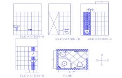 Bathroom layout with elevations in dwg file