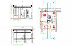 Bathroom plan and section plan autocad file