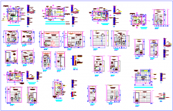 Bathroom plan and section view for different floor dwg file
