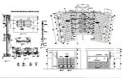 Bathroom section and sanitary installation cad drawing details dwg file