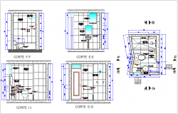 Bathroom sectional view with sanitary detail dwg file