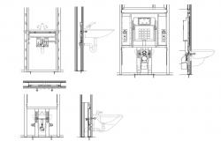 Bathroom sink section and installation details dwg file
