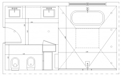 Bathroom structure detail elevation 2d view layout dwg file