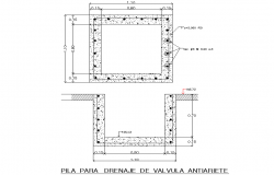 Battery for drainage of Anti-tightening valve plan detail dwg file