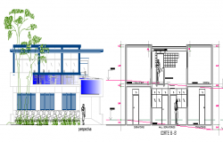 Beach House Architecture Design and Elevation dwg file