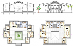 Beach Resort Elevation Plan and Design dwg file