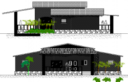 Beach Resort Elevation Plan and Section Plan dwg file