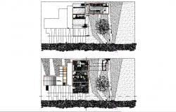 Beach house distribution plan cad drawing details dwg file