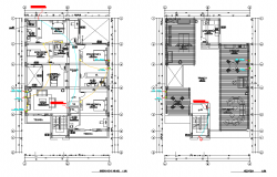 Beach house electric facilities plan autocad file