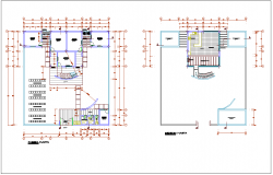 Beach house floor plan with architectural view dwg file