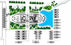 Beach side marina hotel distribution plan cad drawing details dwg file
