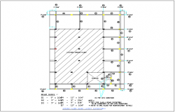 Beam, slab, column, plan layout and arrangement detail view dwg file