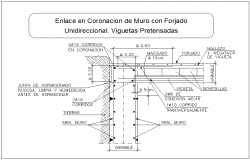 Beam and column joint section view dwg file