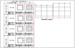Beam and column section detail dwg file