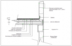 Beam and floor slab connection section view detail dwg file