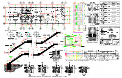 Beam and staircase section plan dwg file