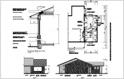 Beam and wall section with floor plan and front view of house dwg file