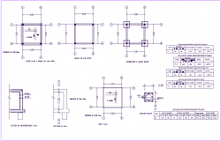 Beam detail view and its schedule with structure view dwg file