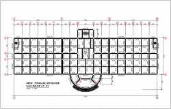 Beam foundation plan view with structure detail for government building dwg file
