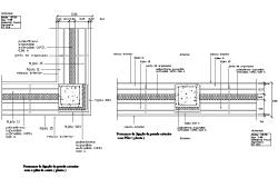 Beam joint wall section detail dwg file