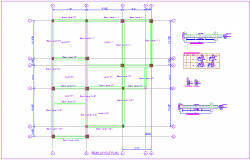 Beam layout plan with detail view with structural view for house dwg file