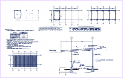 Beam mounting position in roof plan and section view of roof with beam dwg file