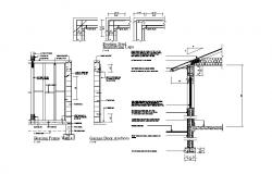 Bearing frame, constructive section and structure details of building dwg file