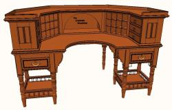 Beautiful Victorian Library Desk 3d drawing details dwg file