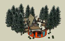 Beautiful tent house elevation 3d drawing details dwg file