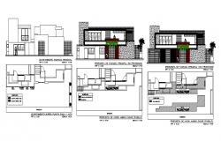 Beautiful two story house all sided elevation and framing plan details dwg file