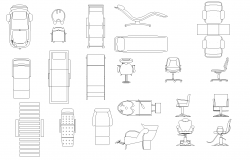 Beauty salon furniture plan detail dwg.