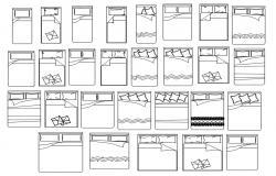 Bed CAD Blocks Free DWG File