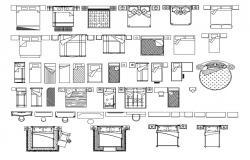 Bed blocks AutoCAD File