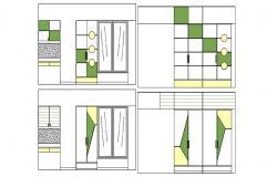 Bedroom Furniture Elevation Design AutoCAD Drawing
