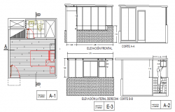 Bedroom elevation, section and sanitary installation dwg file