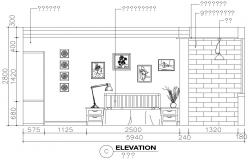 Bedroom elevation with furniture layout cad drawing details dwg file