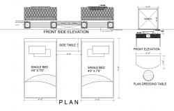 Bedroom furniture elevation and plan cad drawing details dwg file