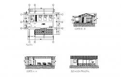 Bedroom of bungalow elevation, section and plan cad drawing details dwg file