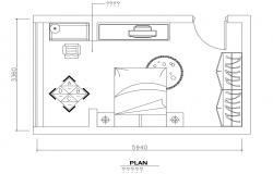 Bedroom plan with furniture layout cad drawing details dwg file
