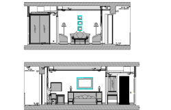 Bedroom sectional elevation detail dwg file