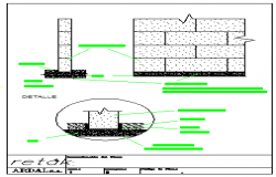 Beds wall of concrete blocks with leveling design drawing