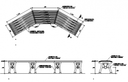 Bench plan and elevation detail dwg file