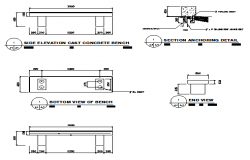Bench section detail design drawing