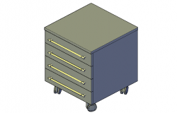 Beside 3d drawer side table detail