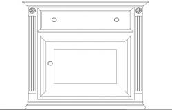 Beside bedroom cabinet front elevation cad block details dwg file